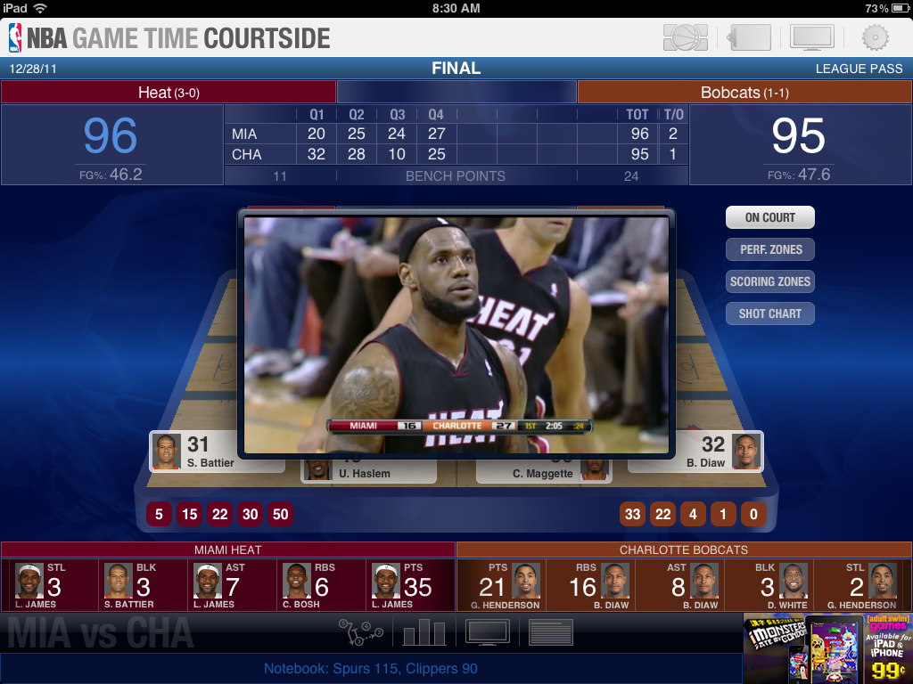 NBA Game Time Courtside iPad App