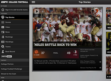 college football scores app for ipad