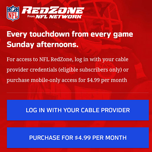 NFL RedZone subscription screen